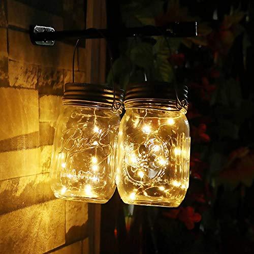 Redmoo Solarlampen für außen, Solar Mason Jar Licht 2 Stück 2 M 20 LED Solar Einmachglas Laterne, Wasserdichte Lichterkette im Glas Solarlampen fur Garten Party Balkon Camping, Warmweiß