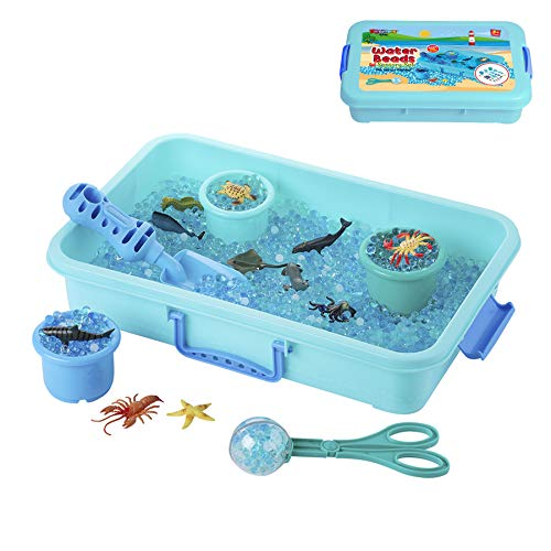 Water Beads Play Set  Sensory Toys for Kids with 16 oz of Water Beads Sea Animals Water Beads Tools  20 Pieces Ocean Toy Figures with Container Storage for 3 4 5 Year Old Toddlers