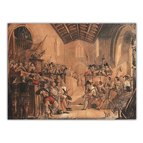 """FACAIA John Everett MillaisA Roundhead Conventicle: Uma cena de """"Peveril of the Peak"""" de Sir Walter Scott: Decoração de pintura a óleo - 60 x 80 cm sem moldura"""