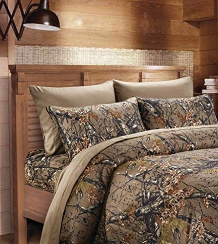 6 Piece Queen Sheet Set Reversible Woodland Camo / Solid Color Design