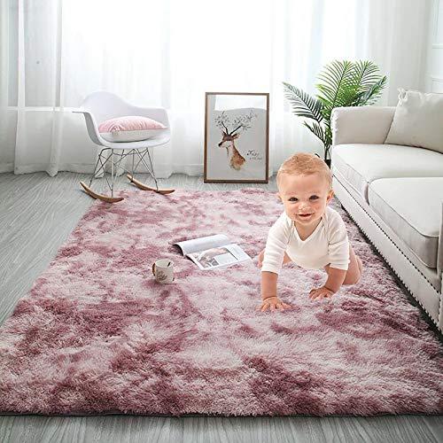 Super Weiche Flauschig Teppich,Luxus Shag Bereich Teppich Für Kinder Spielzimmer Baby Und Haustier,5.2\'X 7.5\'Faux Lammfell Nicht-slip Kurzflor Boden Teppich Teppich-Pulver Lila 5.2x7.5feet(160x230cm)