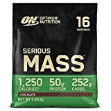 Optimum Nutrition Serious Mass Proteina en Polvo, Mass Gainer Alto en Proteína, con Vitaminas, Creatina y Glutamina, Chocolate, 16 Porciones, 5,45kg, Embalaje Puede Variar