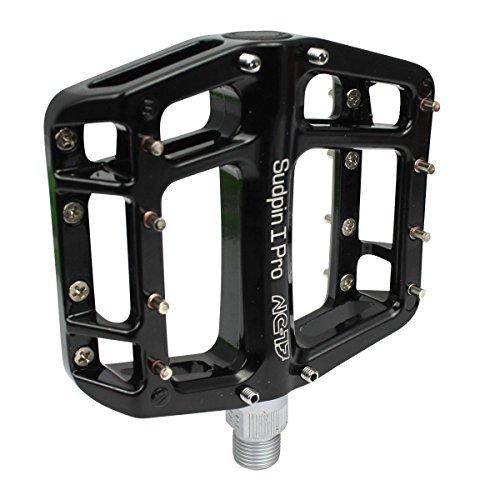 NC-17 Sudpin I Pro Aluminium Plattform Pedale / Fahrrad Pedale MTB / Mountainbike Pedal / BMX Pedal / Kugellager + Cr-Mo Achse / inklusiv Ersatzpins, Schwarz