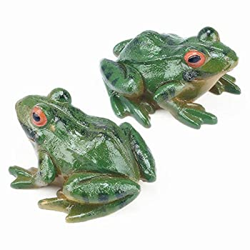 2pcs Frog Statue Ornaments Mini Frog Resin Animal Sculpture for Garden Patio Micro Landscape Fairy Garden Accessories Decor Yard 2.5 inches
