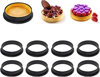 (Black) - JUST N1 8PCS Cake Mould Perforated Cutter Round-Shape Mousse Circle Ring Tart Decorating