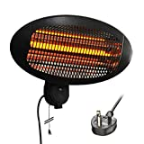 Professional-Elec Energy Efficient 2Kw Electric Wall Mounted Quartz Infrared Patio Heater (Indoor and Outdoor Use*), with 3 Heat Settings - Black [3-Pin UK Plug]