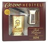 Kurukahveci Mehmet Efendi Turkish Coffee 8.8oz with Stainless Steel Coffee Pot Gift -