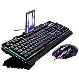 ZzZz Domination, Clavier Mécanique, Frappe Rapide, Précise, Gaming Clavier Mecanique Gamers,G700 avec rétroéclairage LED Rainbow Color Clavier et Souris Filaire (Nior)