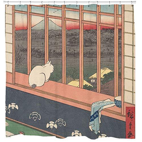 "Lplpol Cat Shower Curtain, Japanese Bathroom Decor, Japanese Art, Traditional Art, Cat Theme Decor, Japan Art Bathroom Curtain, Unique Gift Ideas,11 Hooks, 66"" x 72"""
