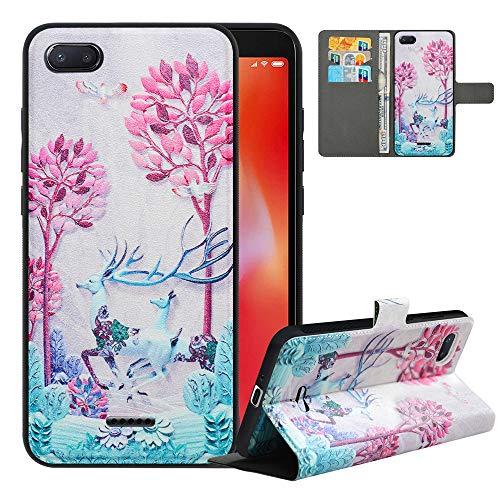 LFDZ Cover Xiaomi Redmi 6A con [RFID Blocco],Custodia Redmi 6A Pro Cover con Staccabile Premium PU Pelle Portafoglio,Flip Wallet con Magnetico Case per Xiaomi Redmi 6A,Deer