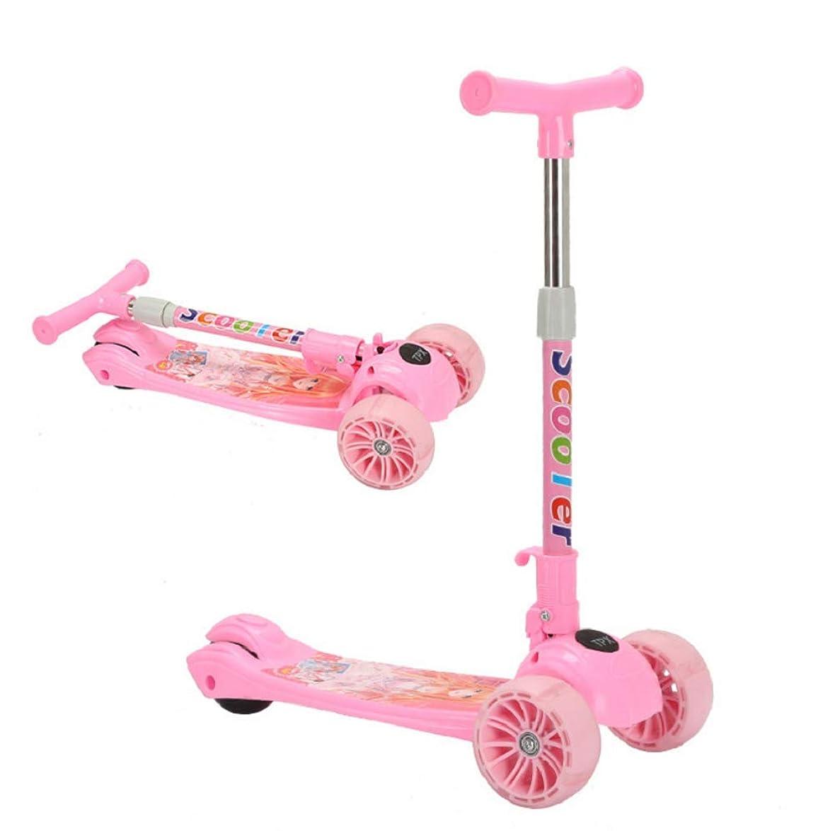 センター用心深いたっぷり子供キックスクーター調節可能な高さのハンドルバーデッキスクーター折りたたみ式3点滅PUホイール最高の贈り物