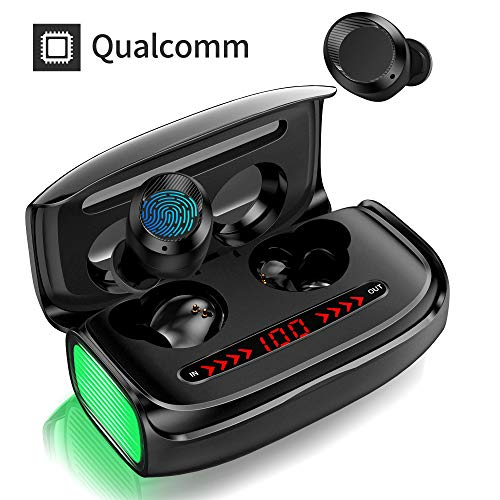 Wireless Bluetooth Kopfhörer, In Ear Ohrhörer mit【3000 mAh Ladebox】 Deep Bass 170h Spielzeit CVC 8.0 Noise Canceling APTX Touch Control LED Anzeige Sport Kopfhörer Built-in Mic Bluetooth 5.0 Headset