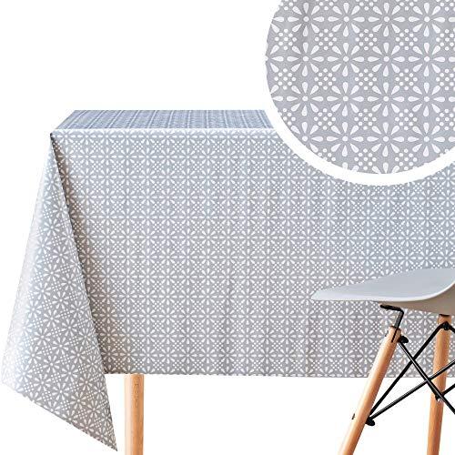 Manteles Plastico Mesa Mantel Hule Estampado Gris con Flores Clásicas de PVC liso Fácil de Limpiar - 200 x 140 cm Rectangular Mantel de Plástico Fácilmente Limpiable