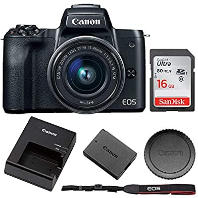 Canon EOS M50 Mirrorless Digital Camera with 15-45mm Lens + 16GB Memory Card from Pixibytes