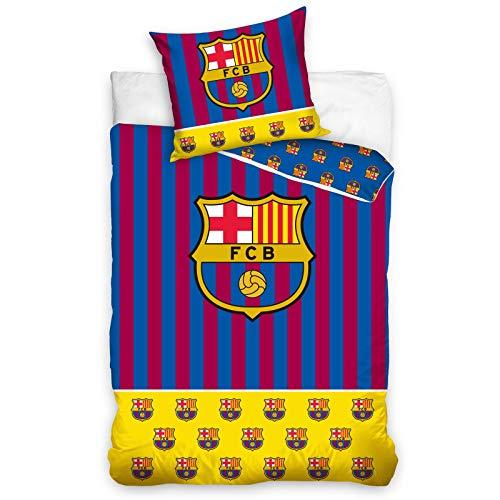 FC Barcelona - Juego de funda de edredón de algodón sin rellenar, color amarillo