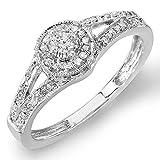 Dazzlingrock Collection 0.25 Carat (ctw) Round Diamond Ladies Split Shank Engagement Ring 1/4 CT, Sterling Silver, Size 7