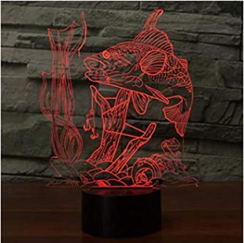 3D Illusion Lamp Vissen Nachtlampje met 16 Kleuren Knipperen & Aanraakschakelaar USB Powered, Slaapkamer Bureaulamp voor Kids'Gifts Woondecoratie