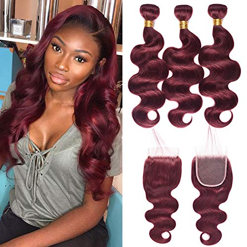 New Year Gifts XCCOCO 3 Bundles 20 22 24inch 99j# Body Wave With 18inch Lace Closure 8A Peruvian Virgin Human Hair thick Bundles Hot Sale Wine Red Burgundy Color for Black Women