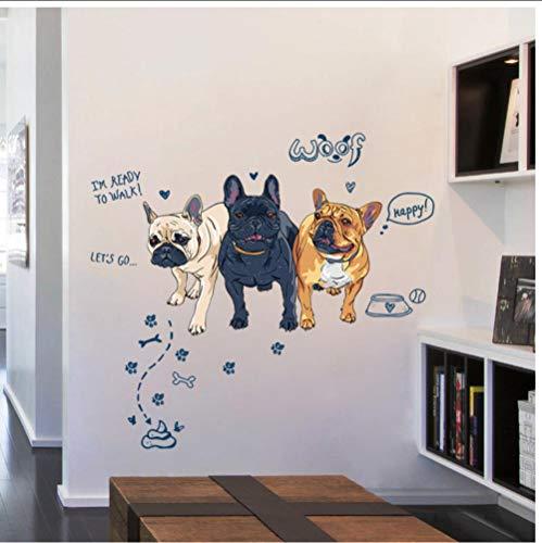 JHLP Leuke drie cartoon honden vinyl muurstickers voor kinderkamer kinderkamer slaapkamer keuken wanddecoratie dieren behang kunst wandafbeeldingen