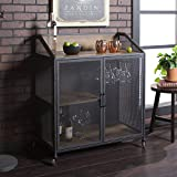 Walker Edison Furniture Company Industrial Wood and Metal Bar Cabinet with Wheels Wine Glass and...