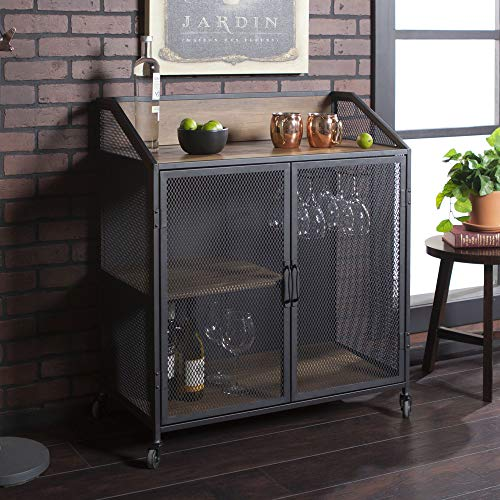 Walker Edison Furniture Company Industrial Wood and Metal Bar Cabinet with Wheels Wine Glass and Bottle Kitchen Storage Shelf, 33 Inch, Reclaimed Barnwood