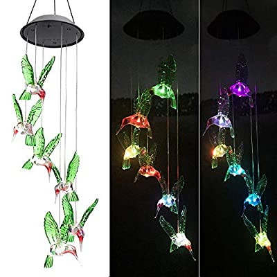Solar Wind Chimes Outdoor Waterproof, Color Changing Mobile Wind Chimes, Hanging Solar Lights for Home, Patio, Lawn, Garden, Yard (Hummingbird)