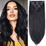 s-noilite Clip in Human Hair Extensions 100% Real Remy Thick True Double Weft Full Head 8 Pieces 18 clips Straight silky (14 inch - 120g,Jet Black (#1))
