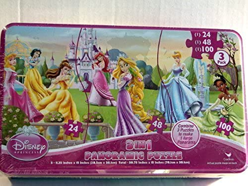 Disney Princess 3 in 1 Panoramic Puzzle (3 Puzzles in 1) - 172 Pieces by Cardinal Industries