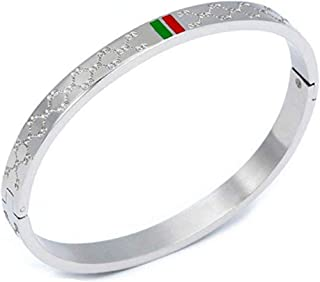 Titanium Steel Bangle Women's Fashion Classic Lovely Brilliance Bracelet - Titanium Steel Red and Green Bracelets