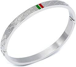 Amrdy Titanium Steel Bangle Women's Fashion Classic Lovely Brilliance Bracelet - Titanium Steel Red and Green Bracelets