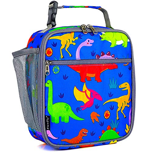 FlowFly Kids Lunch box Insulated Soft Bag Mini Cooler Back to School Thermal Meal Tote Kit for Girls, Boys, Dinosaur