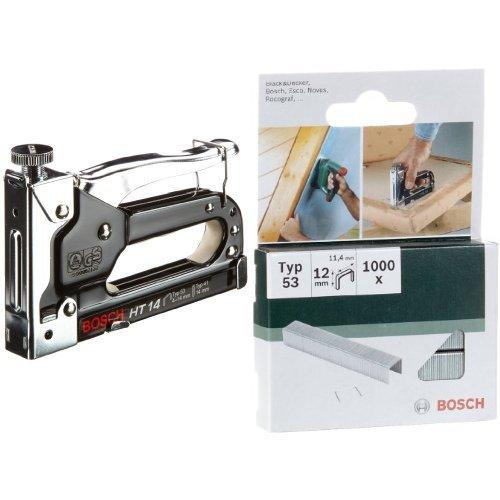 Bosch 0603038001 Graffatrice Manuale HT 14, Graffe Tipo 53, 4-14 mm + Bosch 2609255822 - Graffette tipo 53, 11,4 x 0,74 x 12 mm, confezione da 1.000