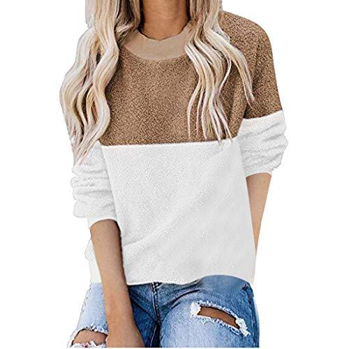 QingJiu Damen Fleece Pullover, Langarm Sweatshirt Farbblock Spleiß Pullover Lässige Flusen Bluse