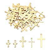 UNICRAFTALE 5 Estilos Encantos de Cruz 50pcs Colgantes de Cruz Ankh Dorados Encantos de Acero Inoxidable Colgantes de Encanto de Metal para Fabricación de Joyas Aproximamente 12-23 mm de Largo