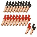 SODIAL(R) 20 x Clips de batterie rouge et noir pince crocodile m¨¦tallique 50A