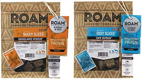 ROAM Pet Treats Ossy Slices Bucky Slices Variety Pack of 2 Freeze Dried Venison Dog Treats Non product image