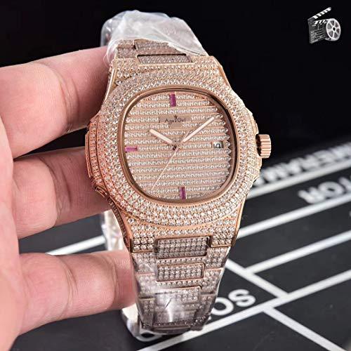 PLKNVT Luxusmarke Neue Automatische Mechanische Herrenuhr Sapphire Full Iced Diamonds Transparent Silber Rose Gold Uhren Limited Sport4