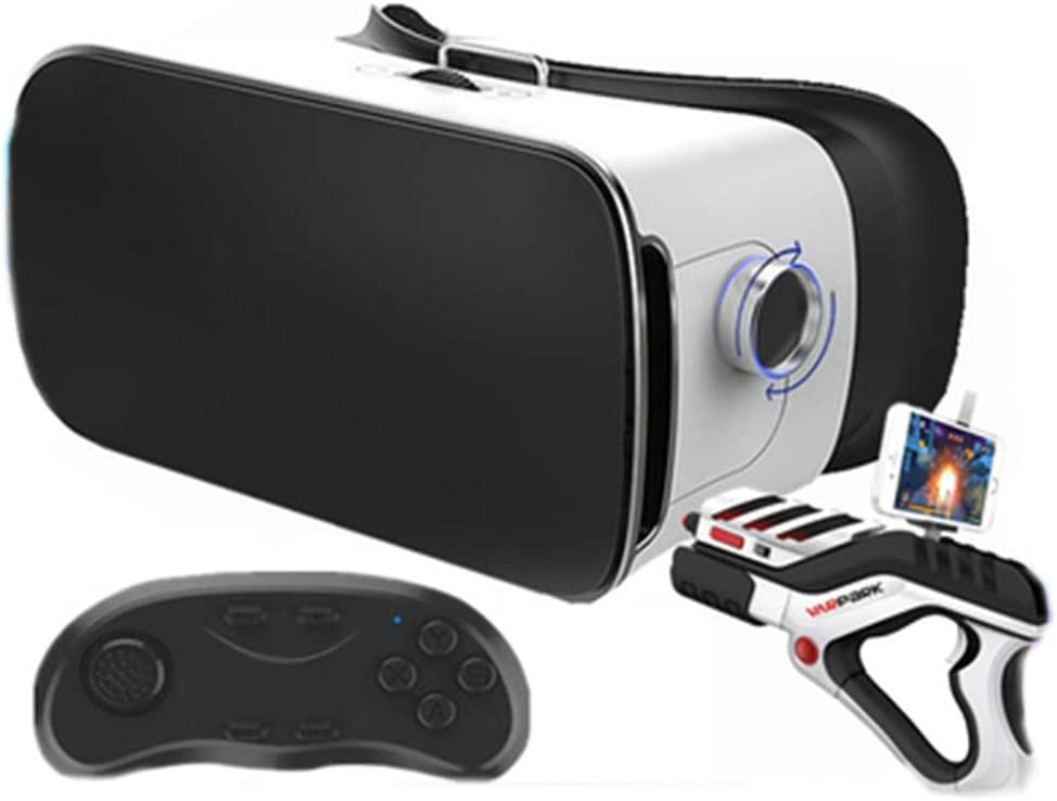 YANJINGYJ VR Headsets,3D VR Glasses Virtual Reality Glasses 3D, 3D Glasses Smart Glasses VR Theater Head-Mounted Glasses Immersive for Apple and Huawei Phones,Black,B