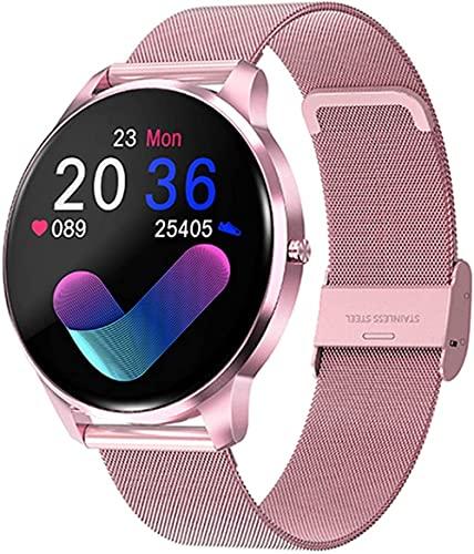 MHPO Nuevo reloj inteligente mujeres IP68 impermeable pantalla táctil completa monitor de ritmo cardíaco presión arterial smartwatch hombres aluminio Case-Mesh rosa