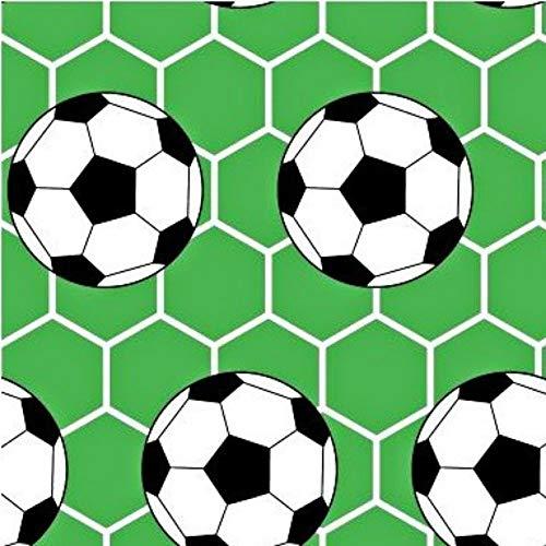 Pingianer - Tela de algodón a rayas para niños, 100 % algodón, por metros, artesanía, tela de costura, diseño de balón de fútbol, algodón, Color verde., 100x160cm (11,99€)