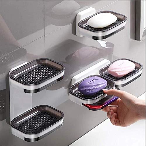 ZiQE Badezimmer Seifenregal, Wandhalterung für Seifenschalen, Doppelte Seifenschale, Seifenschale Verwendet in Bad, Küche, Seife, Reinigungsball, Rasiermesser, kleinen Gegenständen