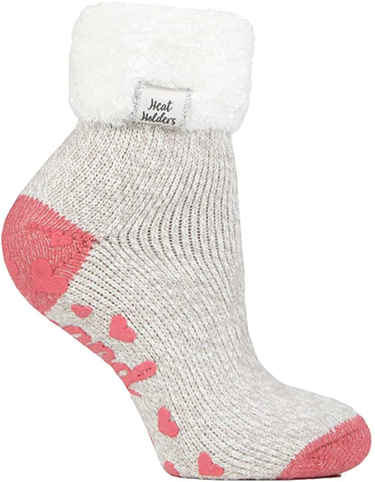 Womens Fluffy Turnover Cuff Thermal Ankle Slipper Lounge Bed Socks with Non Slip Grips