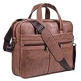 Herren Leder Messenger Bag 15,6 Zoll Laptop Aktentasche Business Satchel Computer Handtasche Schultertasche (Braun)