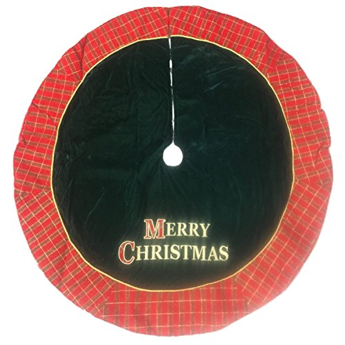 Green Velvet Merry Christmas Tree Skirt 48 Inch Tartan Plaid Holiday Decor
