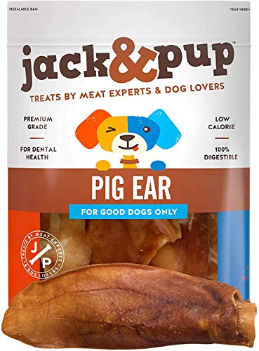 Jack&Pup Pig Ears for Dogs (18 Pack) Extra Thick Half Pigs Ears - Premium Odor Free Dog Pig Ear Treats - Healthy Dog Pork Chews; Excellent Rawhide Alternative (18 Piece Pack)