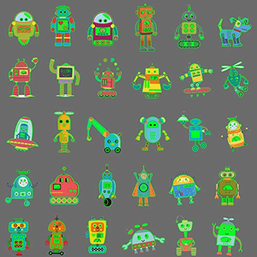 Ooopsiun Luminous Robot Temporary Tattoos for Boys- 90 Styles Glow in The Dark, Robot Birthday Party Decorations Supplies Favors for Kids Boys