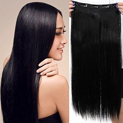 Clip in Extensions wie Echthaar Schwarz Haarverlängerung Haarteil hitzebeständig Glatt 1 Tresse 5 Clips 30