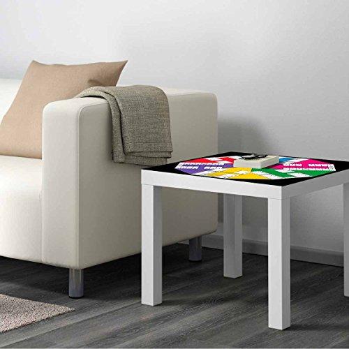Vinilo para Mesa IKEA Lack Personalizada Juego Parchis Clasico 6 Jugadores | Medidas 0,55 m x 0,55 m | Vinilo Personalizado | Decoración Mobiliario | Pegatina Decorativa de Diseño Elegante