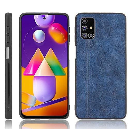 Casos básicos de teléfono Celular para Samsung Galaxy M31S Patrón de Vaca de Costura a Prueba de Golpes PC para PC + PU + Funda TPU (Color : Blue)