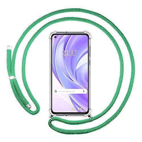 Funda Colgante Transparente para Xiaomi Mi 11 Lite 4G / 5G con Cordon Verde Agua